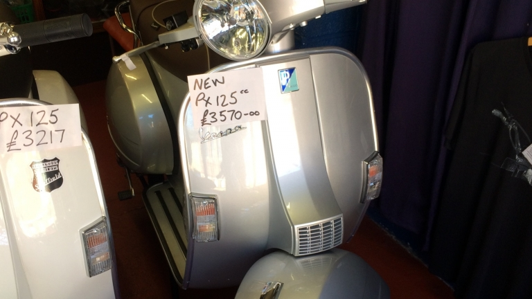 Brand New 70th Anniversary Vespa PX125 in blue and silver
